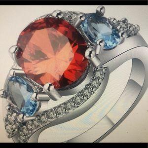 Multicolor blue red diamond vintage silver ring